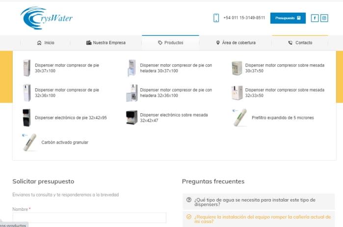 CRYSWATER captura mega menu